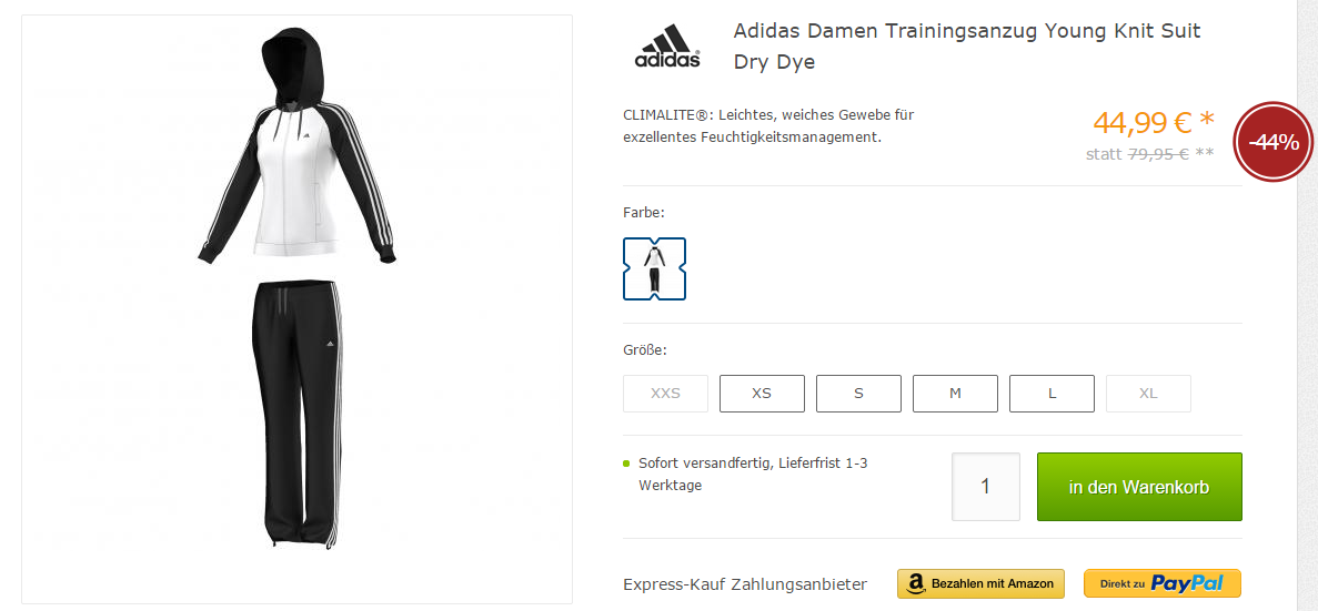 adidas damen trainingsanzug young knit suit dry dye. Black Bedroom Furniture Sets. Home Design Ideas