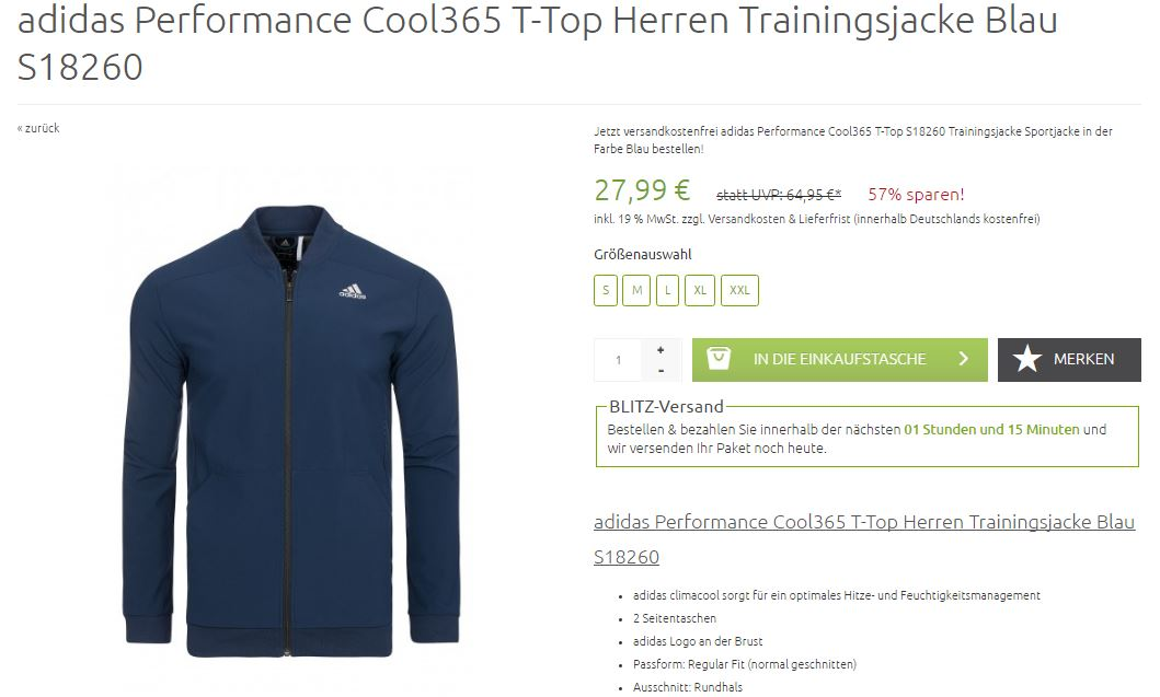adidas Performance Climacool Trainingsjacke