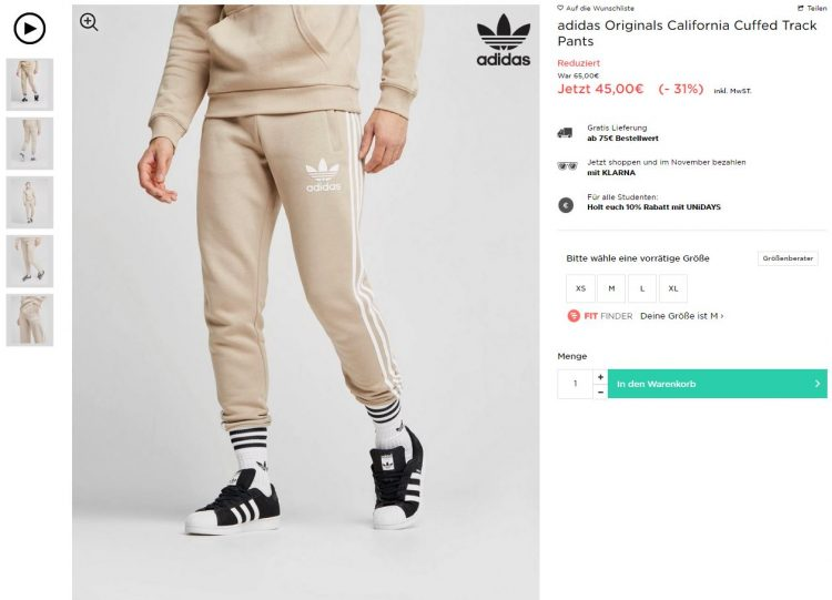 adidas originals jogginghose beige