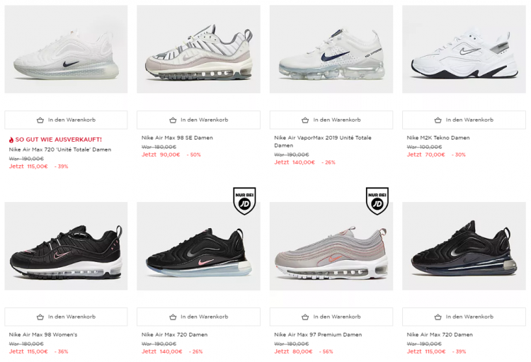 new product 2ce83 efe74 NIKE Sale bei JD Sports mit bis zu 50% Rabatt - Sneaker ...